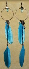 Long Blue Gypsy Tribal Feather Hippie Steam Punk Boho Festival Gothic Earrings