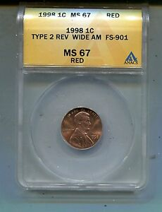 1998P Lincoln Cent Type 2 Rev. Wide AM-FS901-ANACS MS67 Red Lot # 2