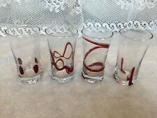 Pier 1 Set of 4 Shot Glasses, Red Swirl and Other Designs New in Original Box