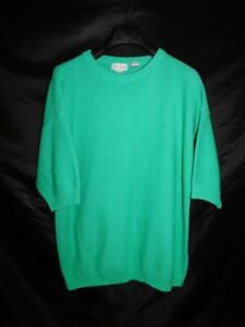 Vintage Bonjour 1X Aqua Green Short Sleeve Sweater Crew Neck 90s 00s 1XL Woman