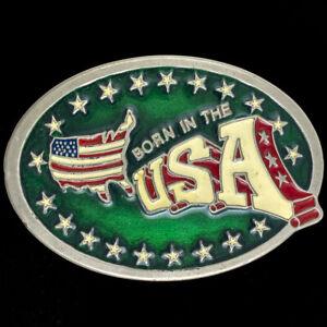 Usa American America Pride Patriotic Western Biker NOS 70s Vintage Belt Buckle