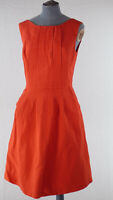 Reiss Red Sleeveless Fit & Flare Boat Neck Dress Back Zip Slash Pockets UK 8
