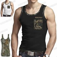 MENS CAMOUFLAGE MUSCLE VEST JUNGLE TRIM TOPS POCKET FOREST GYM ATHLETIC SHIRTS