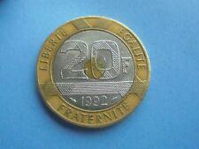 France, 20 Franc 1992, Tri-Metallic, Great Condition.