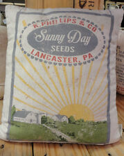 Sunny Day Seeds-  Feed Sack Throw Pillow -Primitive By Kathy-2 Sided