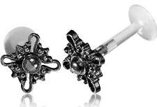 "REAL SILVER 16G 1/4"" 6mm INTERNAL BIOPLAST EAR LABRET MADONNA TRAGUS LIP HELIX"