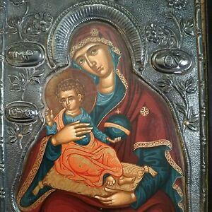 Icona Greche Madonna Con Bambino Argento 950 Bizantina Agiografia