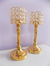 Crystal Votive Tealight Candle Holder Centerpiece Candelabra Gold Color 2 Pcs