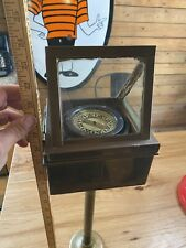1935 Star Nautical Compass In Original Brass Stand With Ship Plaque Maritime