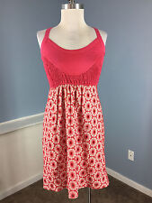 Anthropologie Fei Xs 2 Cotton Eyelet  Pink White Party Casual Dress Excellent