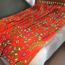 "More details for huge vintage 1970s oversize poppy floral design pencil pleat curtains 58.5x93.5"""