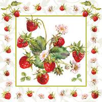 Servietten 20, Serviettentechnik Frische Erdbeeren Ambiente 33 x 33