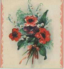 VINTAGE RED WHITE ANEMONE GARDEN FLOWERS LILY OF THE VALLEY ART CARD LITHO PRINT