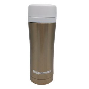 Tupperware Insulated Thermal Flask Tea Strainer Travel Tumbler Cosmos Gold 14oz