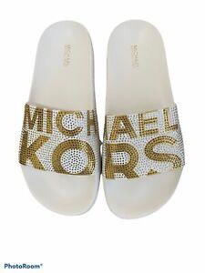 Michael Kors Gilmore Slide Slip On Sandals Rhinestone Optic White/Gold Size 9