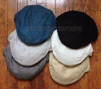 Men's Casual Linen Flat Ivy Gatsby Summer Golf Newsboy Paperboy Cap Hats