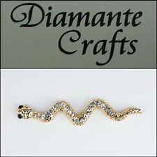 3D Snake Gold Alloy Encrusted Clear Diamantes Black Enamel Cabochon - 3SS2013