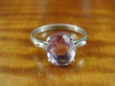 Silver 925 Ring Size 7 1/2 Square Shape Pink Faceted Stone Sterling