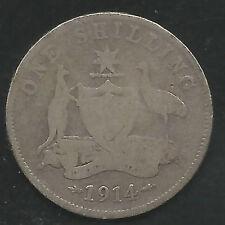 AUSTRALIA,  1914,  SHILLING, SILVER,  KM#26