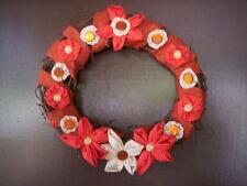 Button Fabric flower, Burlap handmade wreath,Mother's day wreath,Spring wreath