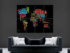 MAPPA Del Mondo Poster in lettere parole WALL ART PICTURE Enorme Gigante