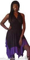 black purple dress stretch jersey asym halter L XL 1X 2X ONE SIZE color block