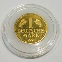 M228 Medaille letztes Jahr 1 DM Münze 2001 vergoldet in Münzkapsel 23,5mm 5,5g