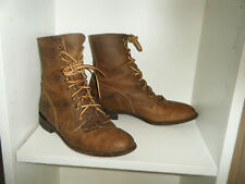 JUSTIN Roper Lace Up Boots Size 6.5 B Women's