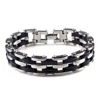 Fashion Charm Unisex's Men Stainless Steel Rubber Bracelet Wrist Bangle Black