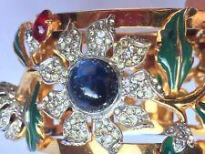RARE CORO CRAFT 'Carmen Miranda' Enameled & Bejeweled Camellia Bangle Bracelet