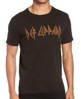 John Varvatos Men's Def Leppard Rock Icon Raw Edge Graphic Crew T-Shirt Black