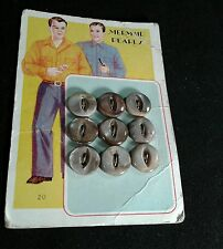 Vintage Pearl 1950s Buttons Mermaid  Gray / Grey Two Hole 9 Count