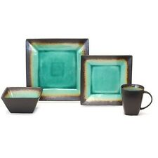 BHG Jade Crackle 16 Pc Dinnerware Set Plates Bowls Mugs Square Dishes Kitchen