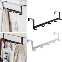 Over-The-Door 5 Hooks Metal Hanger Storage Rack Towel Holder Hanging Organizer