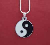 Yin Yang Necklace New Includes Charm Pendant and 18in Chain Ying Silver Plated