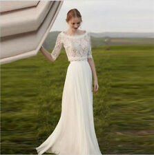 Chiffon Boat Neck Half Sleeve Wedding Dresses