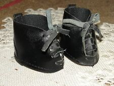 """VINTAGE 2"""" BLACK LEATHERETTE DOLL SHOES w TIES - GREAT CONDITION SUPER CUTE"""
