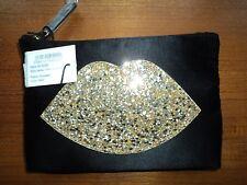 LULU GUINNESS Gold Glitter Lip Zip Pouch-Boxed