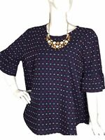 Izod 2X Women's Blue Multicolored Cotton Bell sleeve Accent Button Back Blouse