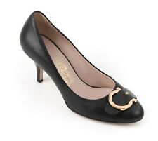 "SALVATORE FERRAGAMO ""Cassia"" Black Leather Gancino Buckle Classic Pumps Heels 6B"