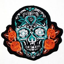 Diamond Rose Sugar Skull Mexican Chopper Día de Muertos Motocycles Iron on Patch