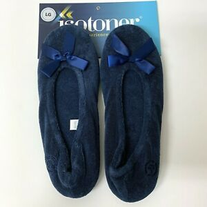 Isotoner Women's Terry Ballerina Slipper Bow Indoor Outdoor Comfort Blue L 8-9