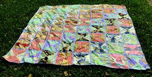 "VTG Handmade Patchwork Queen Quilt 84 x 84"" Tied Scrap Blanket w/Pillow Case"