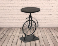 Iron Unicycle Side Bar Table Rustic Industrial Retro Metal Steam Punk Vintage