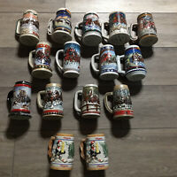 Vintage Budweiser Clydesdale Steins Hamms 86 87 88 92 93 More Lot Of 15 Steins