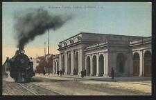 POSTCARD OAKLAND CA WESTERN PACIFIC RAILROAD DEPOT WITH LOCOMOTIVE 1907