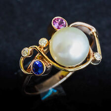 PEARL RING 8mm CULTURED SOUTH SEA PEARL DIAMONDS SAPPHIRES 9K GOLD SIZE P NEW