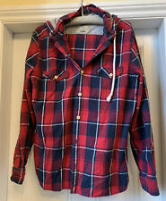 NEXT Blue/Red/White Check Brushed Cotton Hooded Shirt Size XL