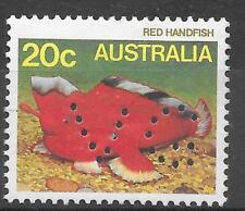 AUSTRALIA 'V G' PERFIN TO SG 923 20 Cent RED HANDFISH; UNUSED NO GUM.