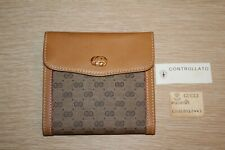 GUCCI GG Controllato Monogram Leather Trim Kisslock Wallet Vintage 70s EUC
